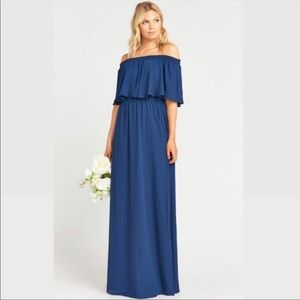 Show Me Your MuMu Hacienda blue ruffle maxi dress